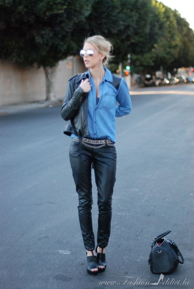 Black and Blue ~ Leather Pants and Chambray