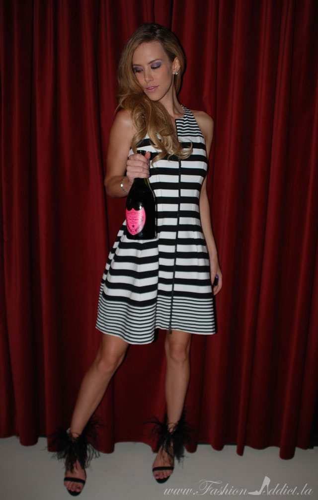 striped bcbg dress