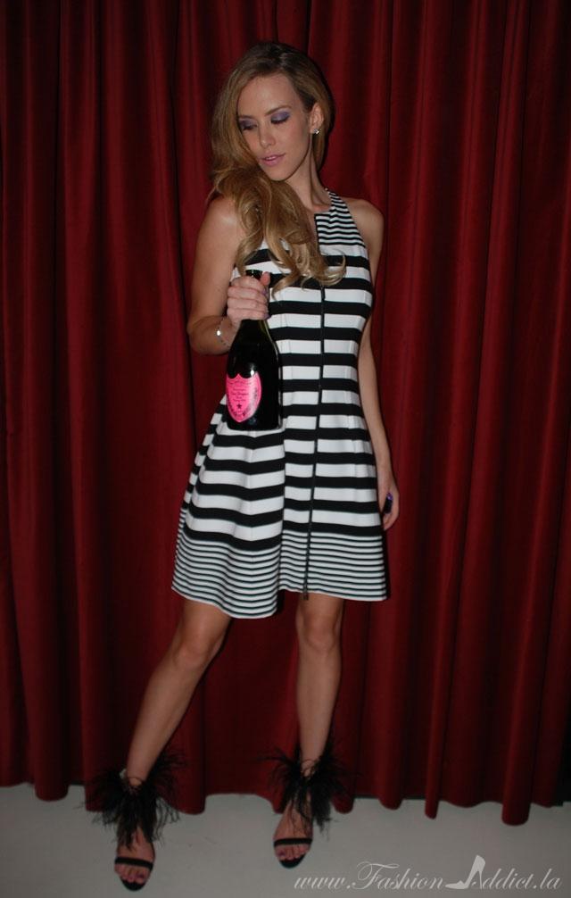 striped bcbg dress