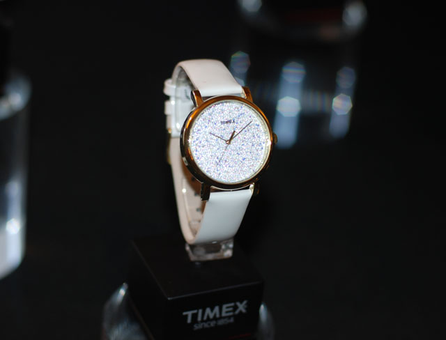 Timex white glitter face watch