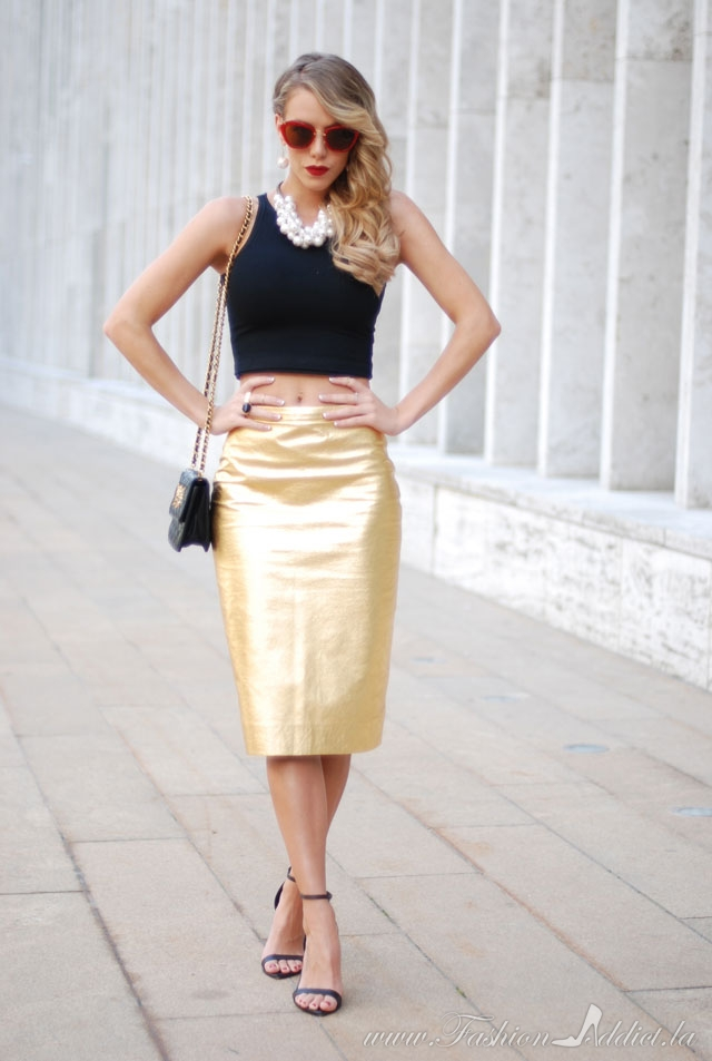 The Gold Pencil Skirt Kier Couture
