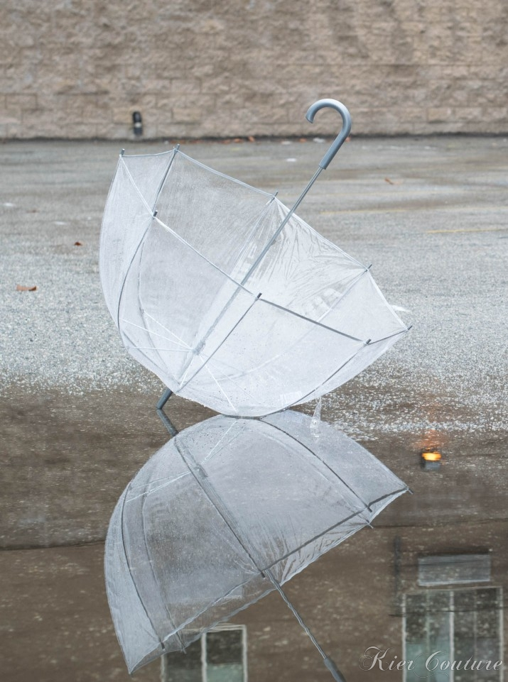 clear umbrella with reflection