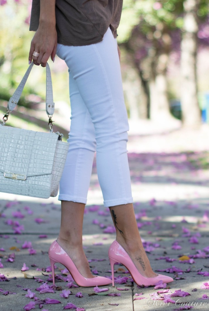 pink louboutins and white jeans with Brahmin bag