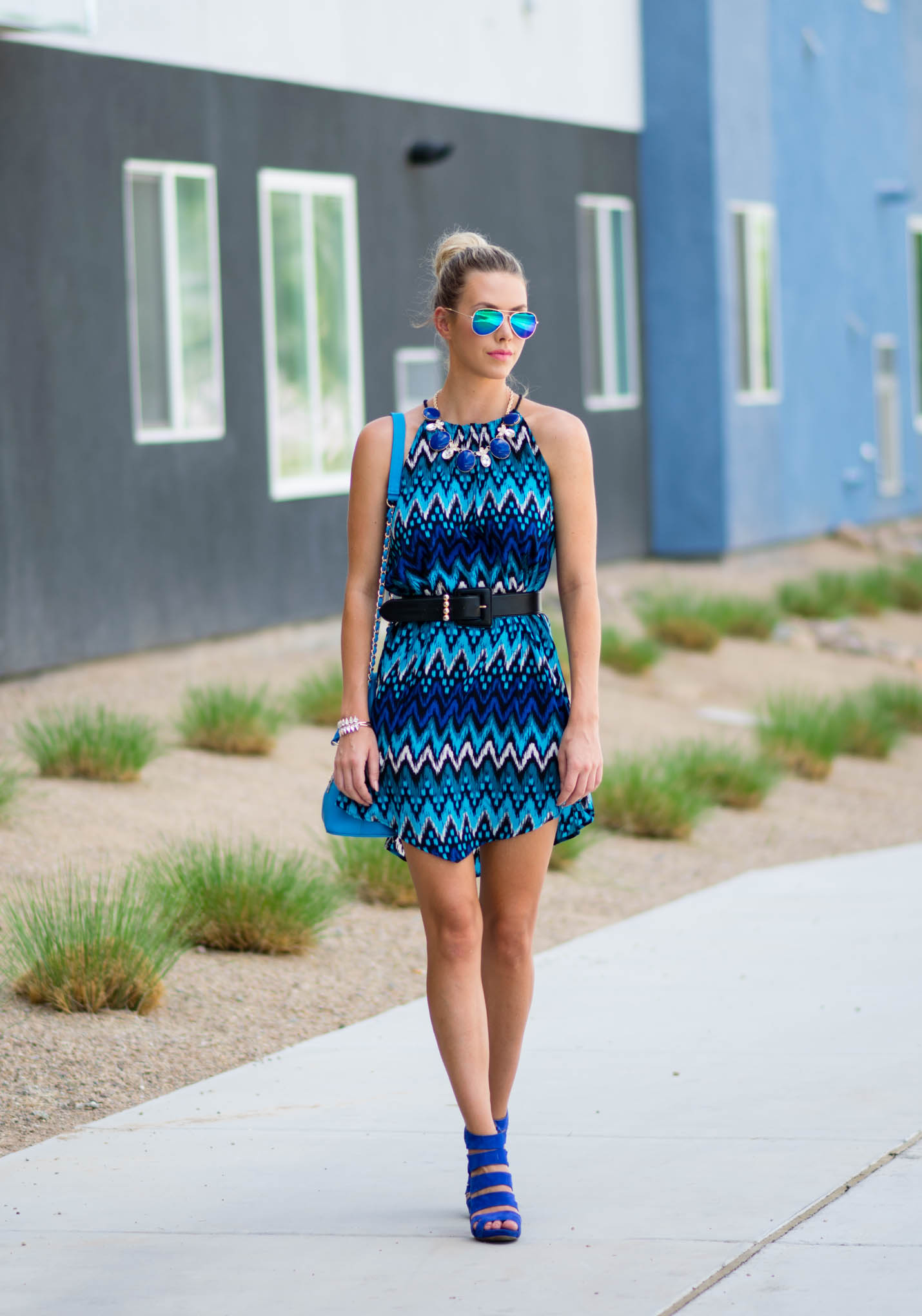 fifth and park chevron dress