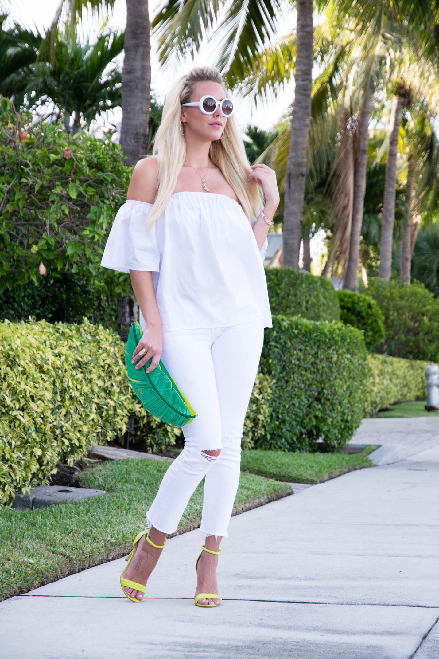 White and green outfit