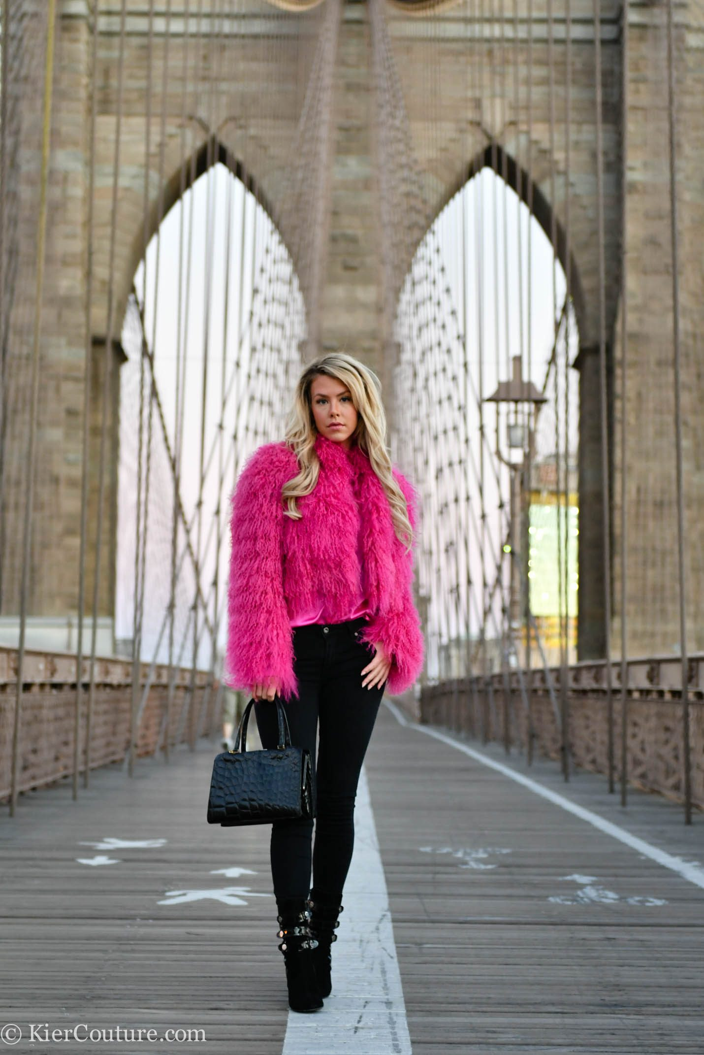 Pink fur jacket outfit