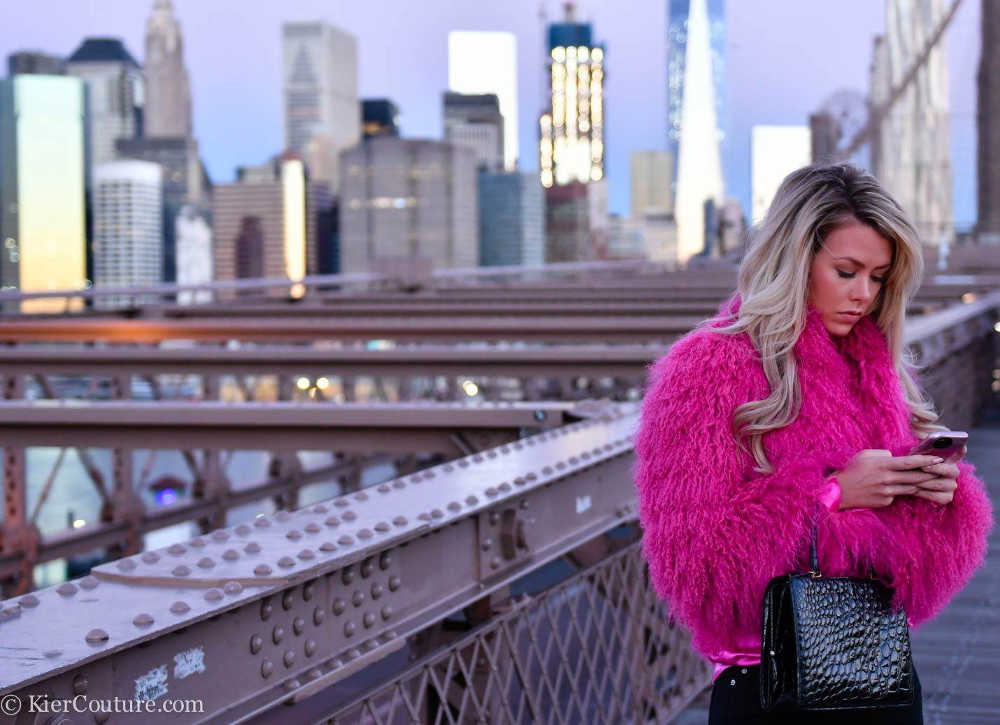 Fuchsia shearling jacket