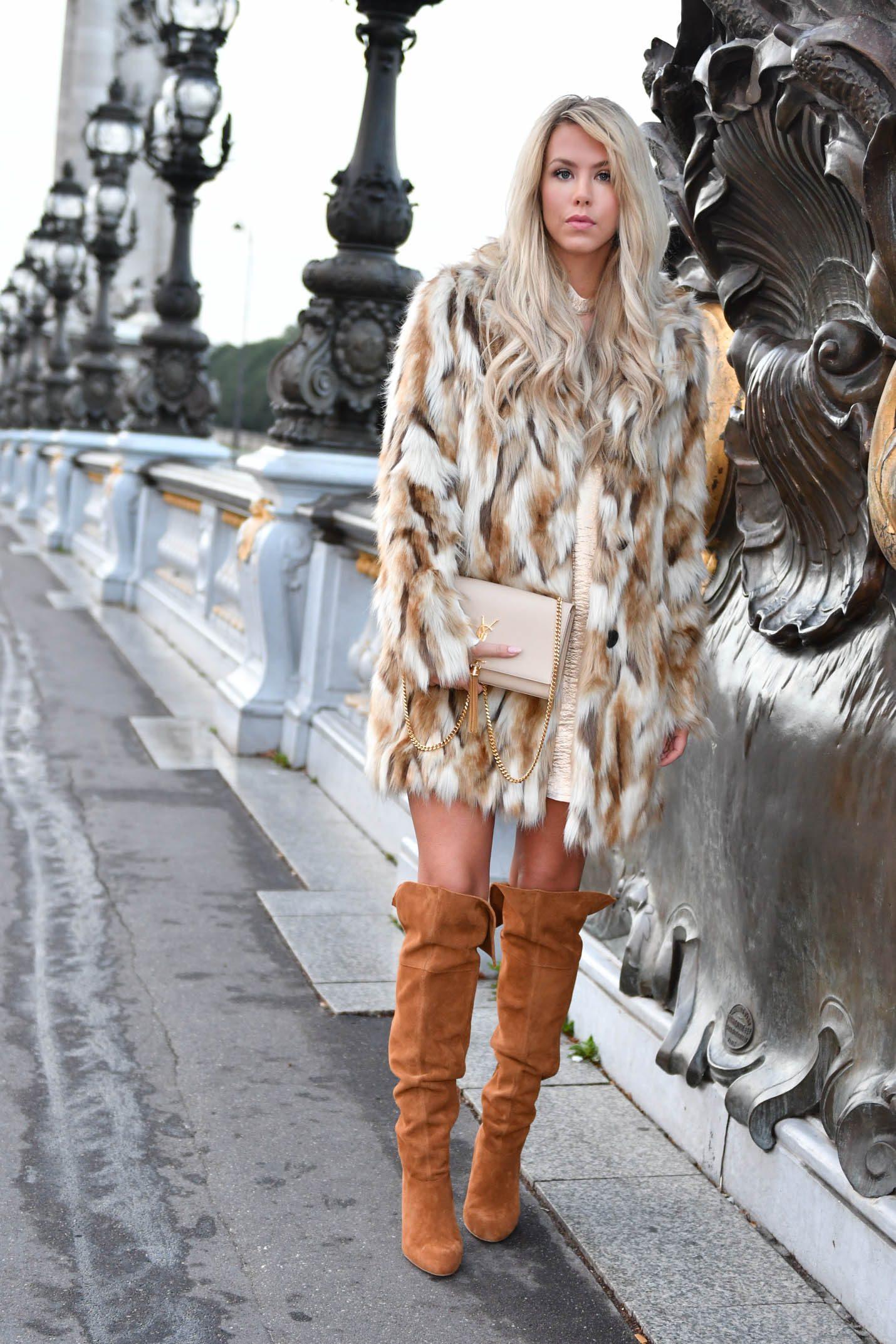 faux fur coat and oak boots