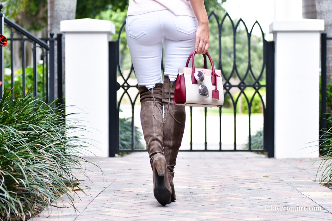 White jeans and taupe over the knee boots