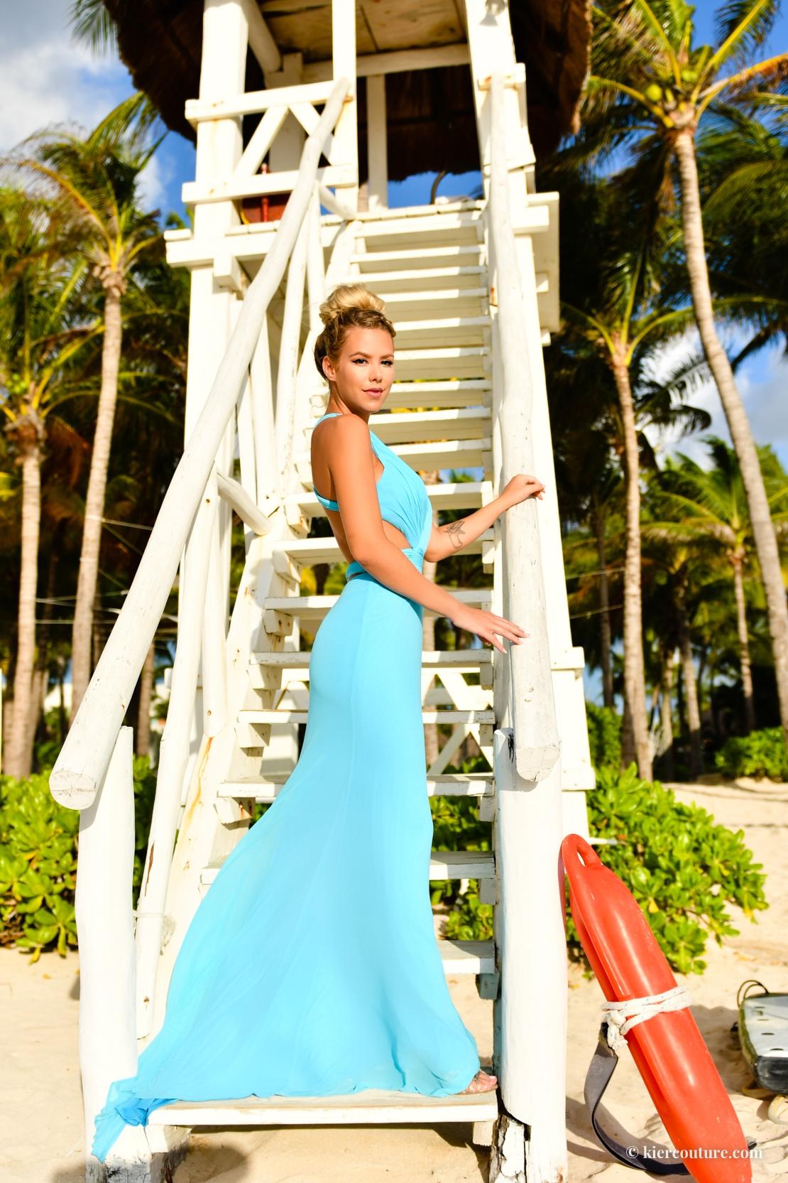 aqua blue gown
