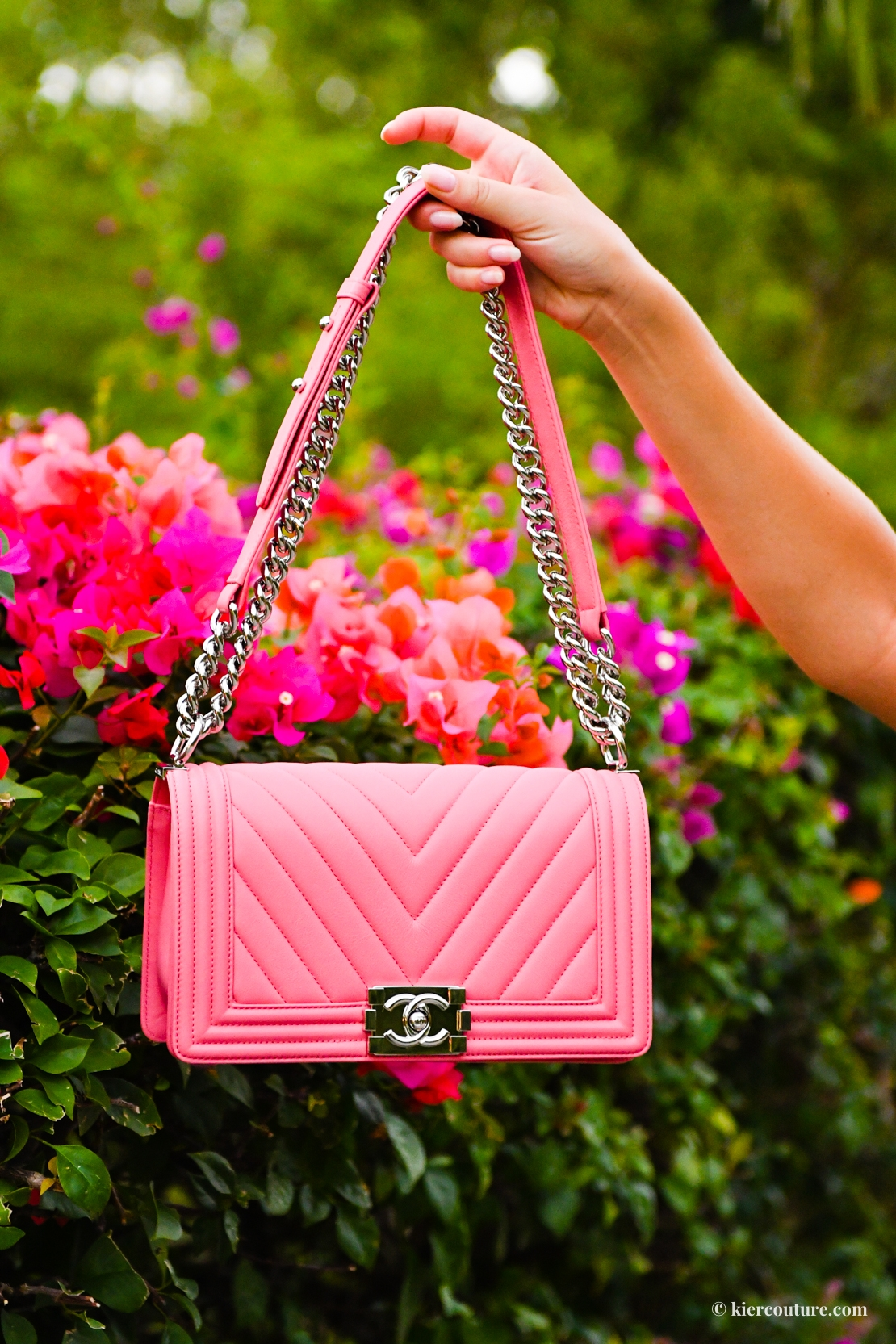 pink Chanel chevron boy bag