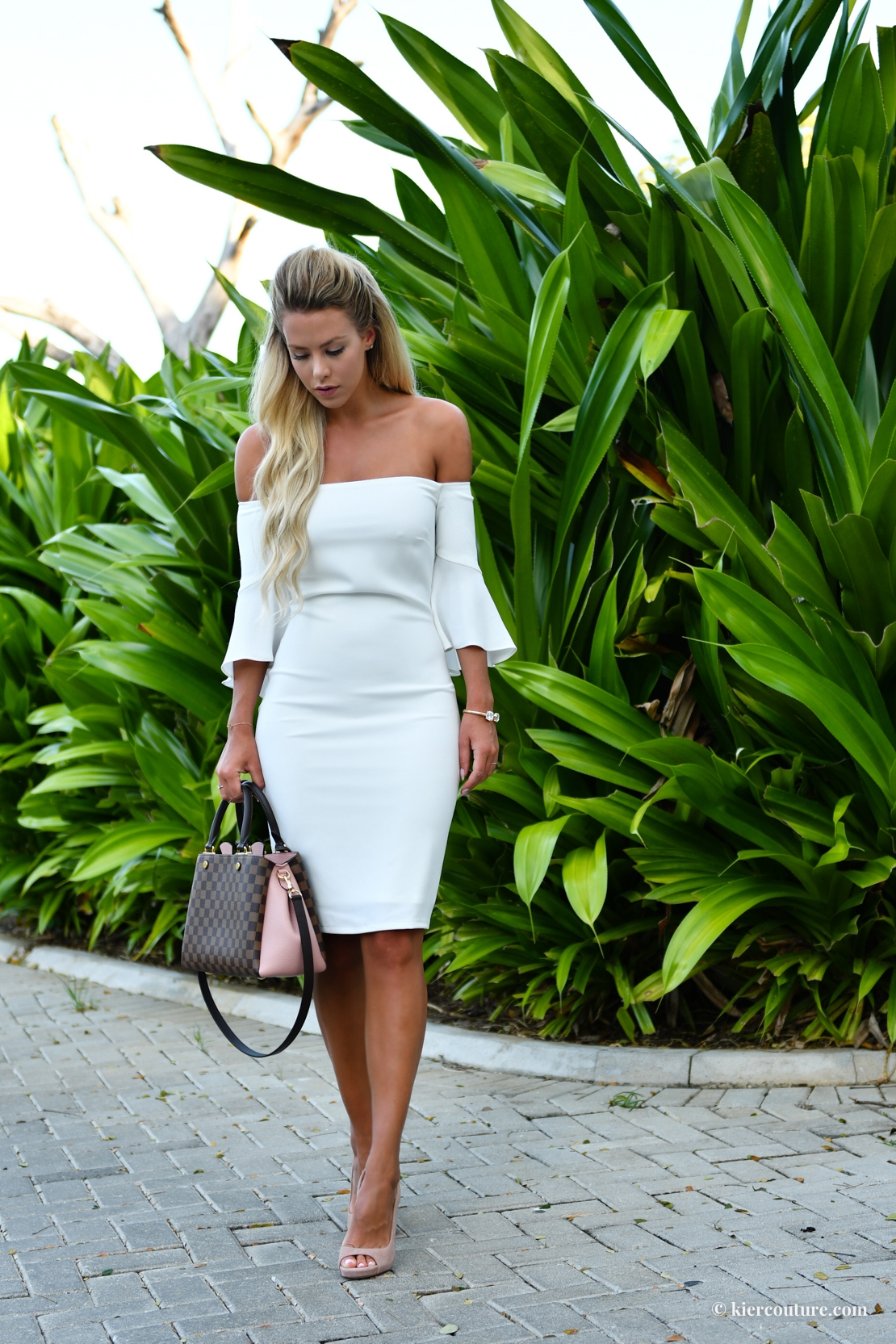 Laundry White off shoulder dress