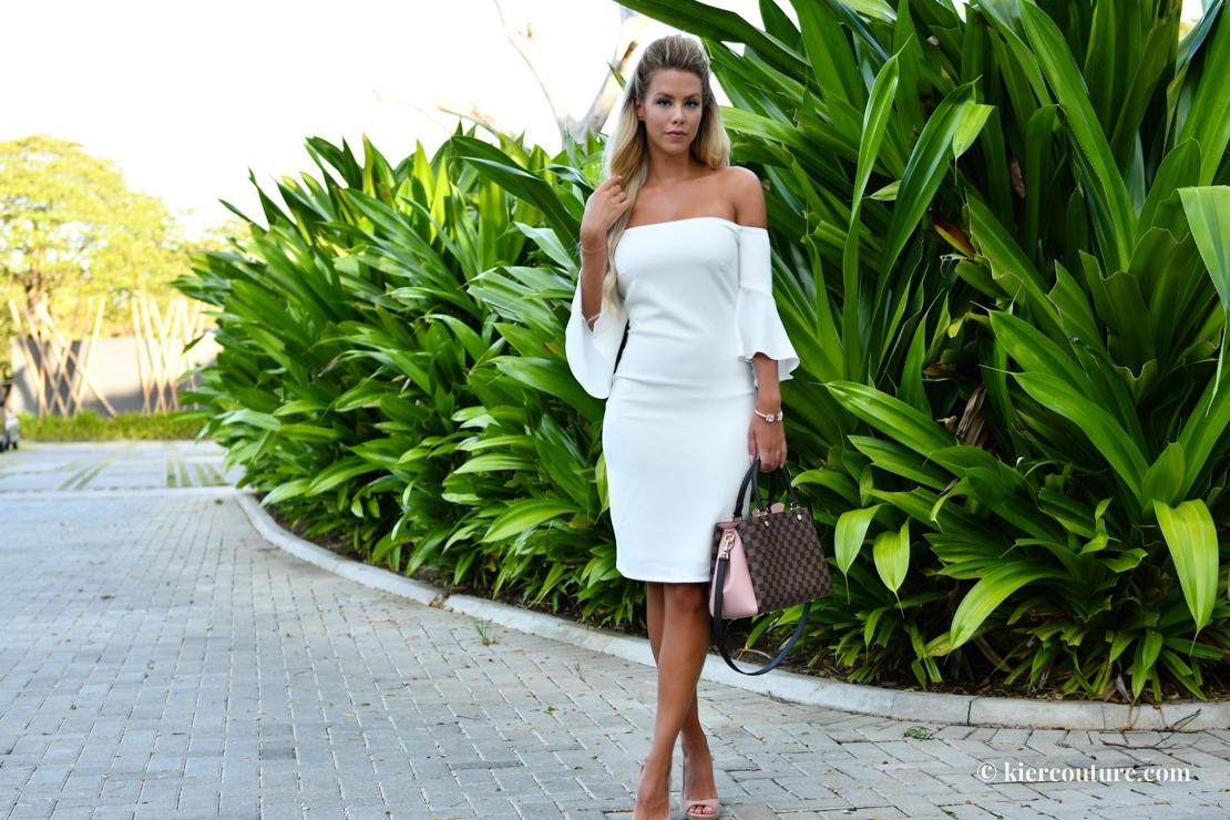 Laundry White bell sleeve dress