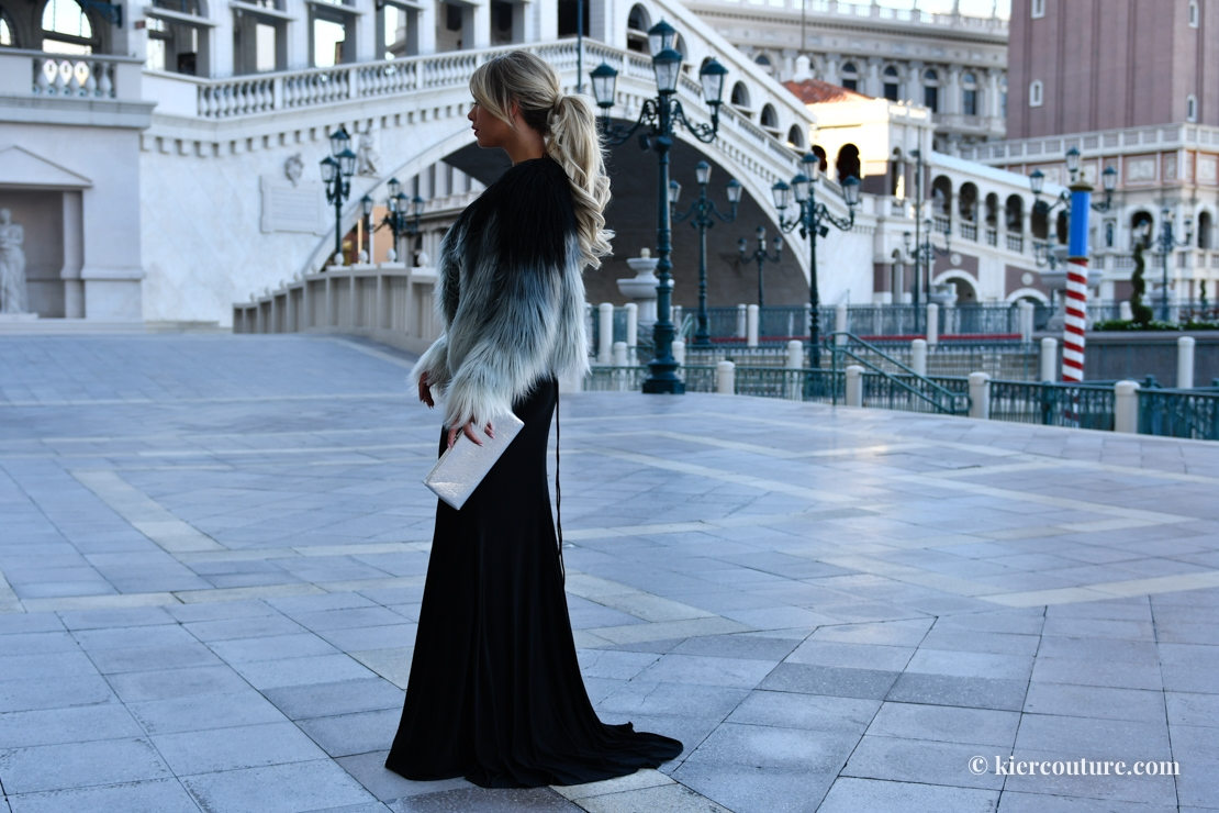 Fur coat and ball gown