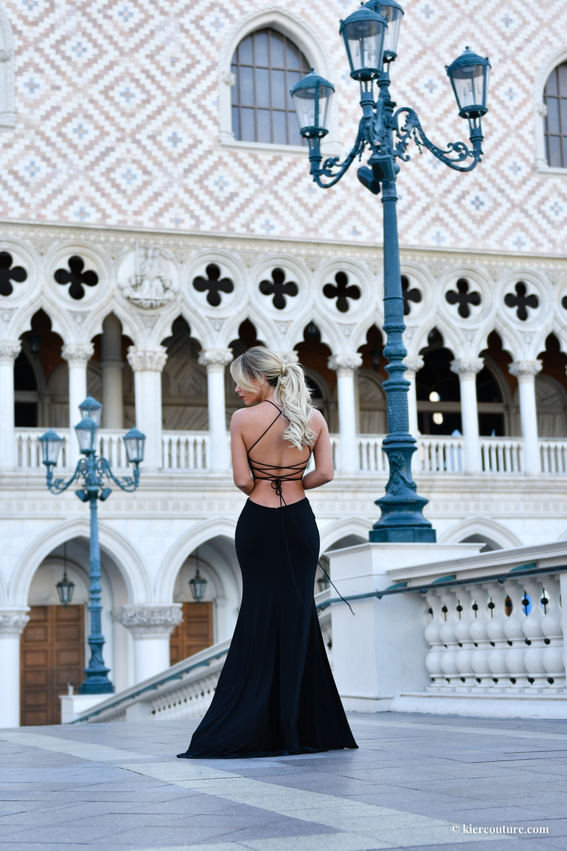 lace up black mermaid gown