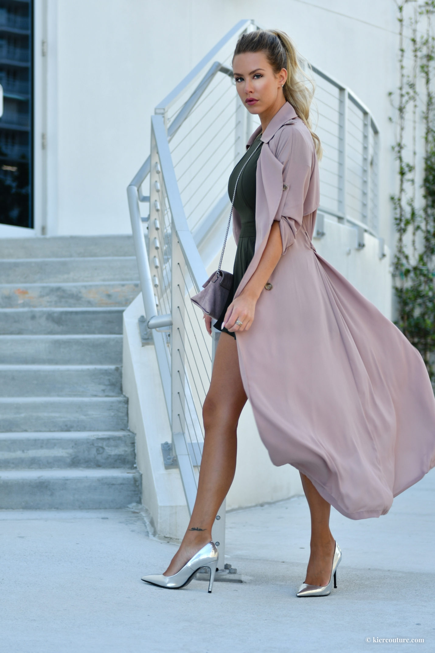mauve soft trench coat