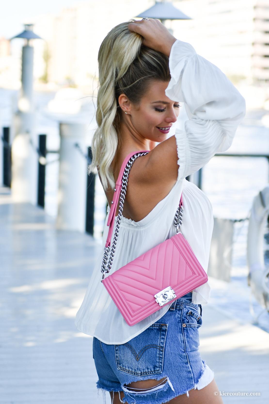 pink chevron chanel boy bag