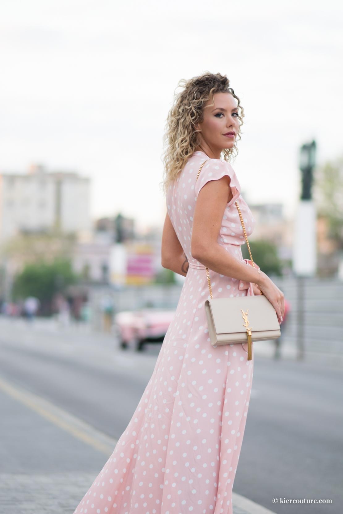 pink polka dot maxi