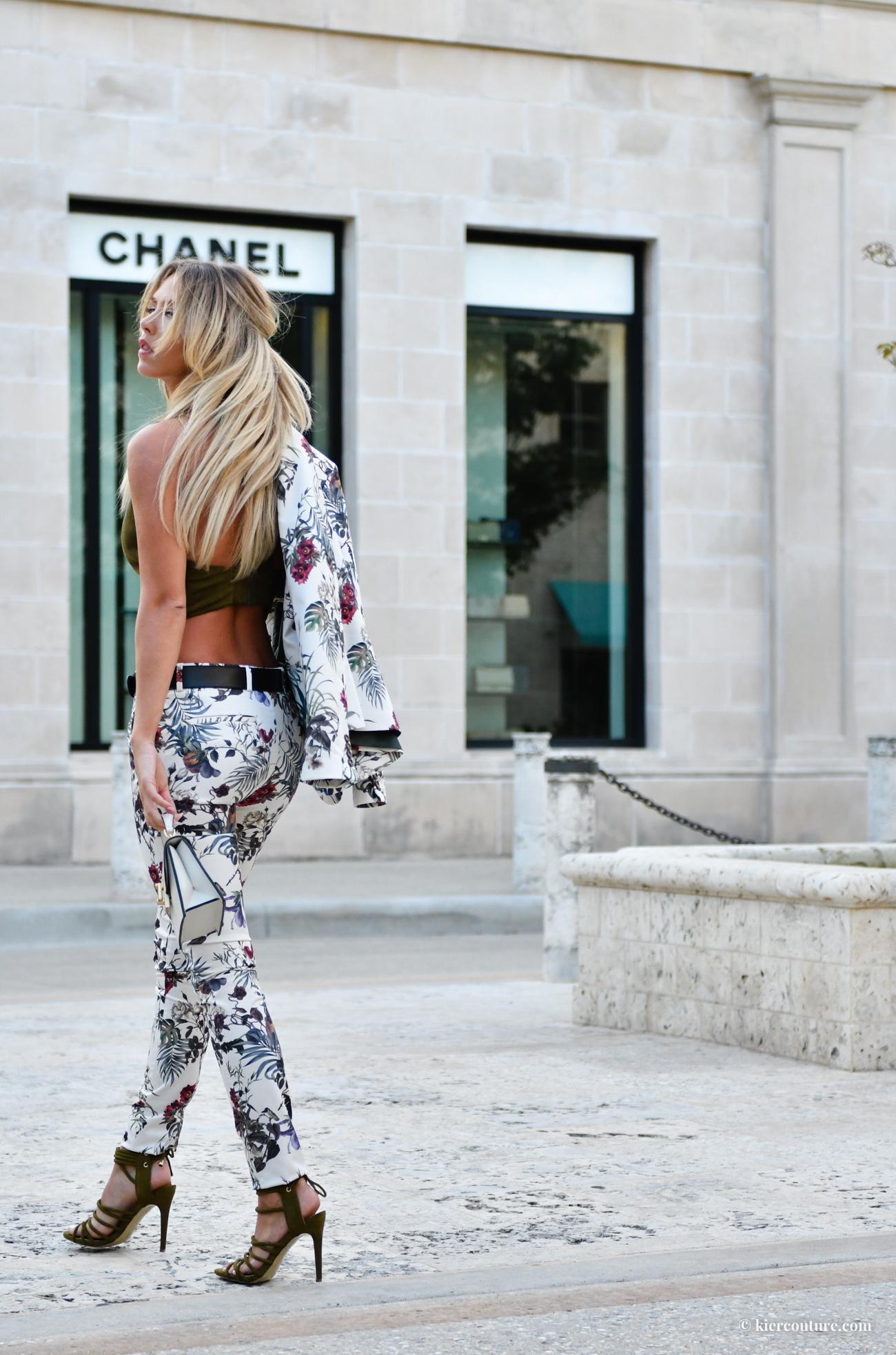 white Floral pants suit