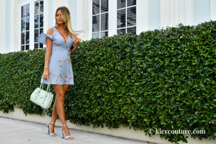 blue dress and mint handbag