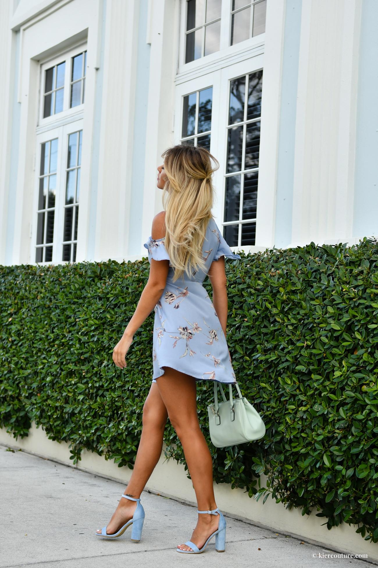 light blue floral wrap dress