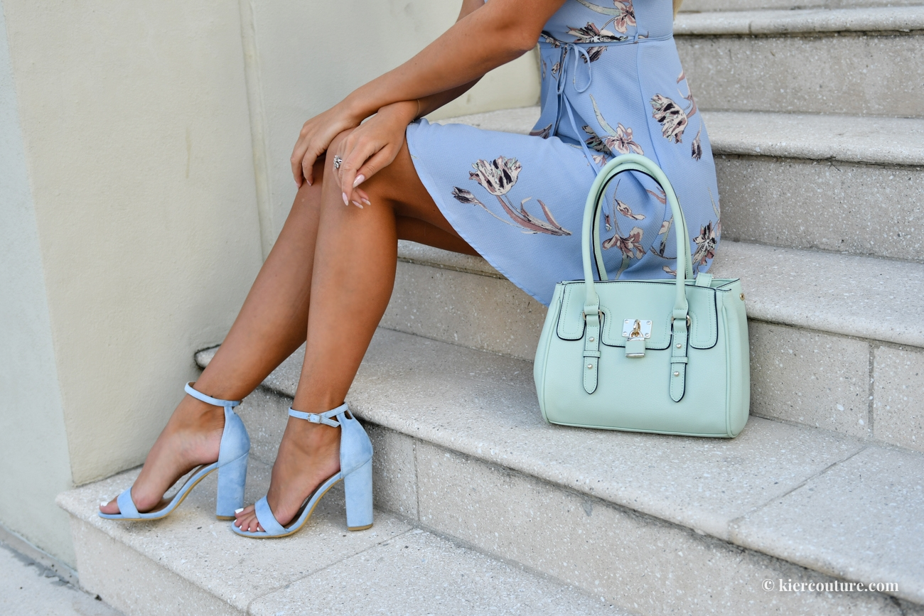 light blue strap high heel sandals