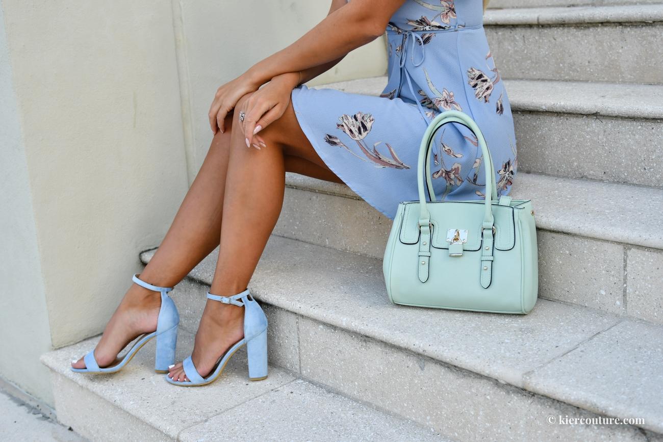 light blue strap high heel sandals