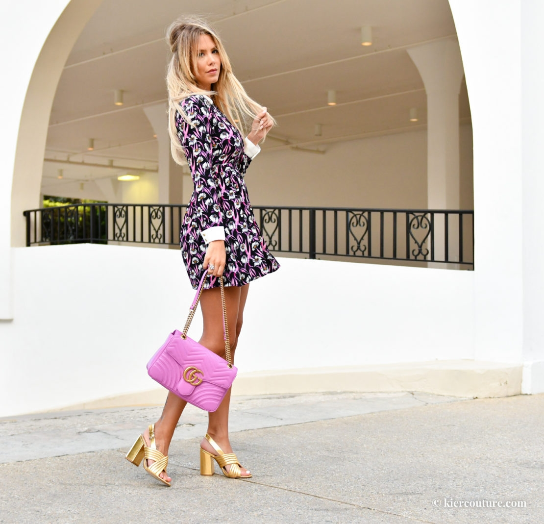 high low dressing in forever 21 and pink gucci marmont bag with Mango shoes