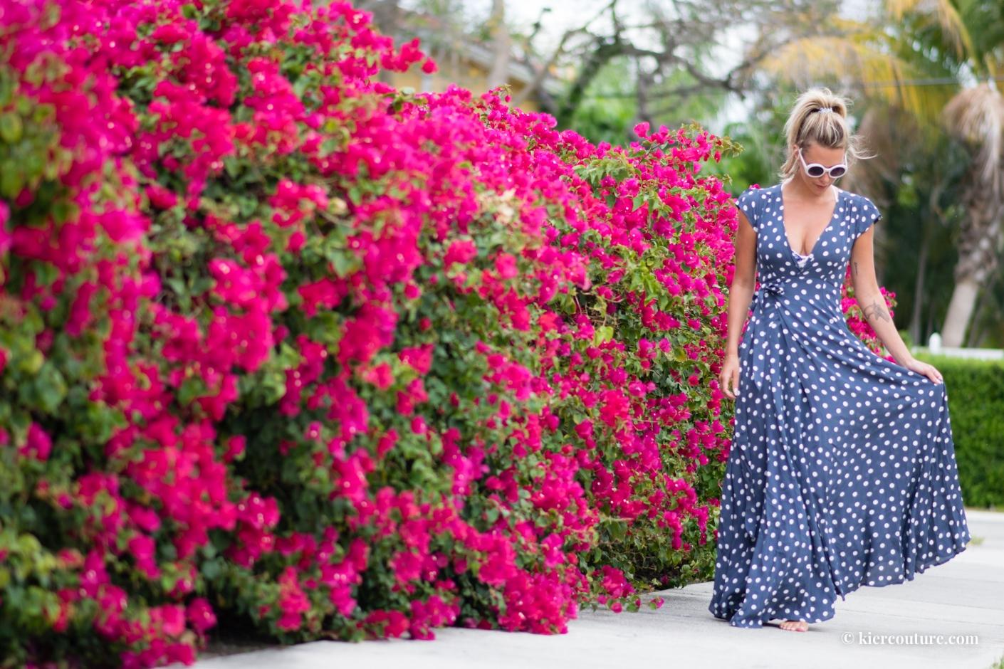 Kier Mellour in tularosa polkadot dress in ink blue