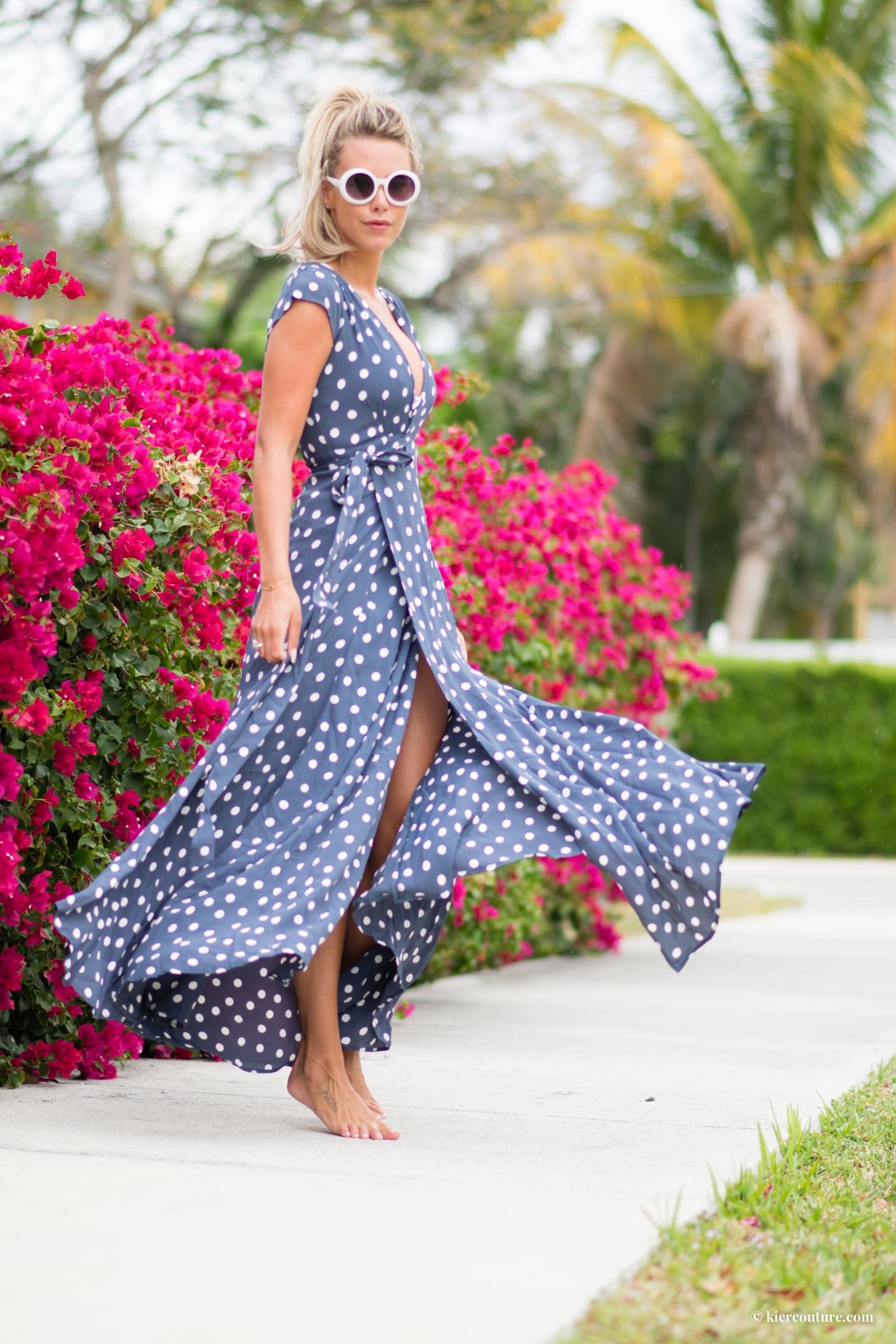 tularosa polkadot dress in ink blue