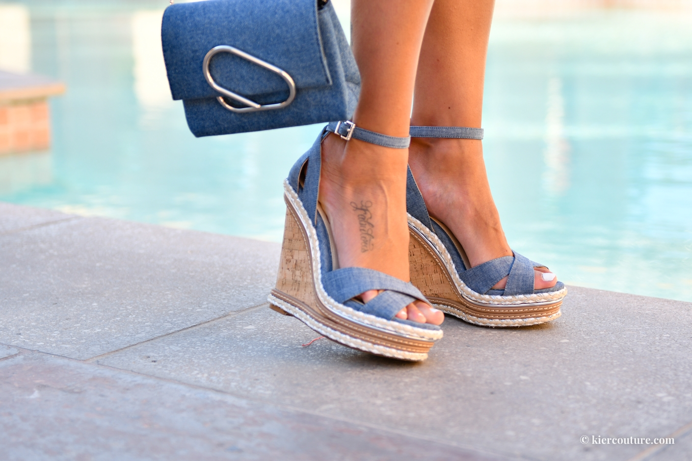 jessica simpson ahnika wedges in blue chambray denim