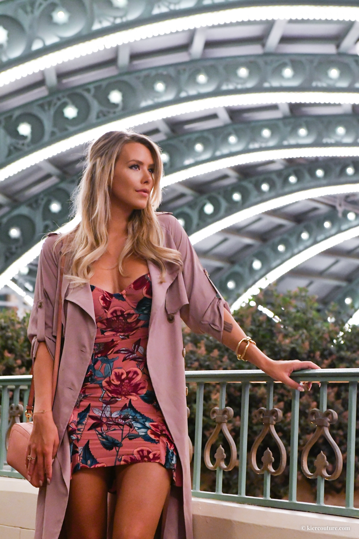 Kier Mellour in Mauve soft trench coat and floral flamenco dress