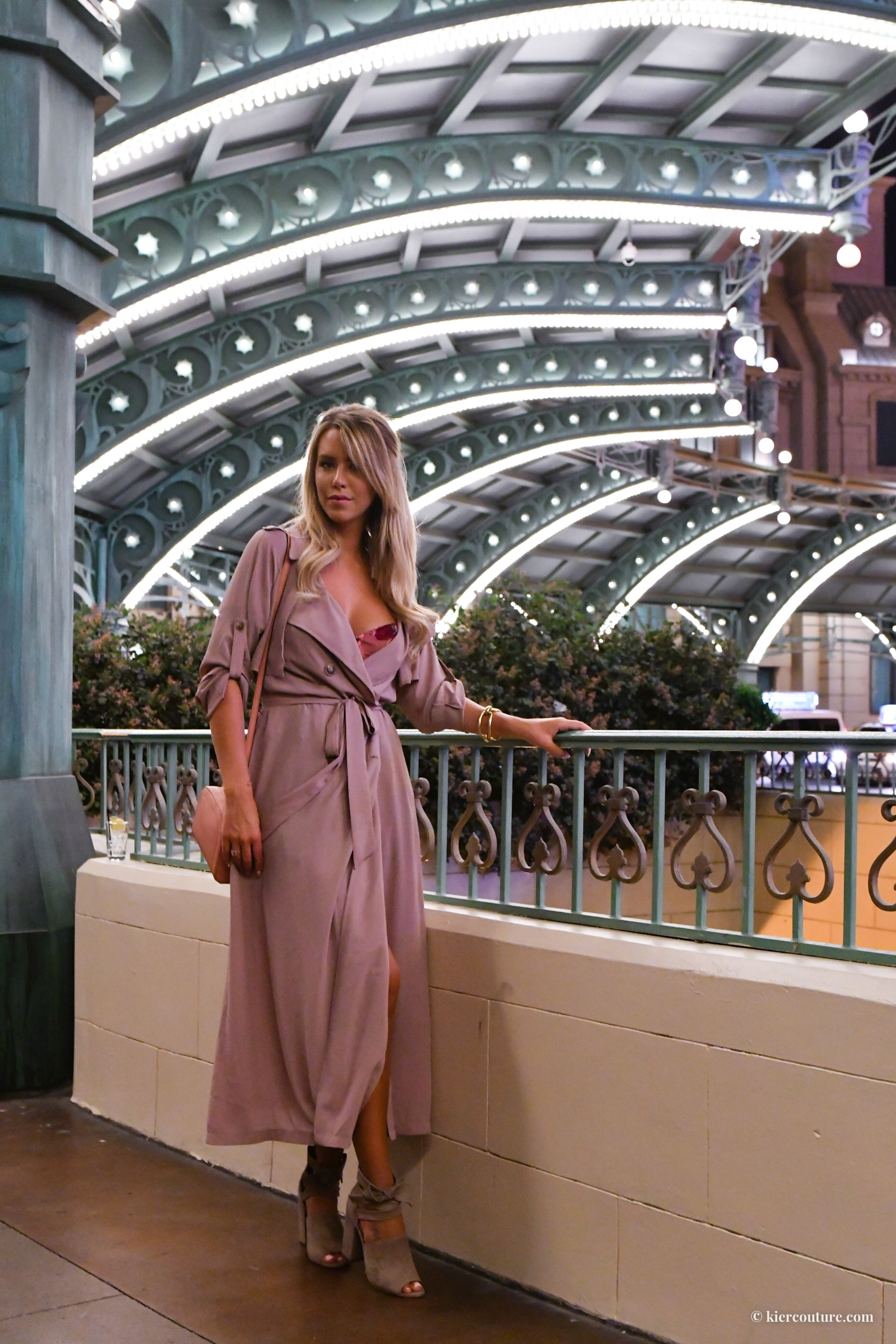 Kier Mellour in Mauve soft trench coat and suede jessica simpson shoes