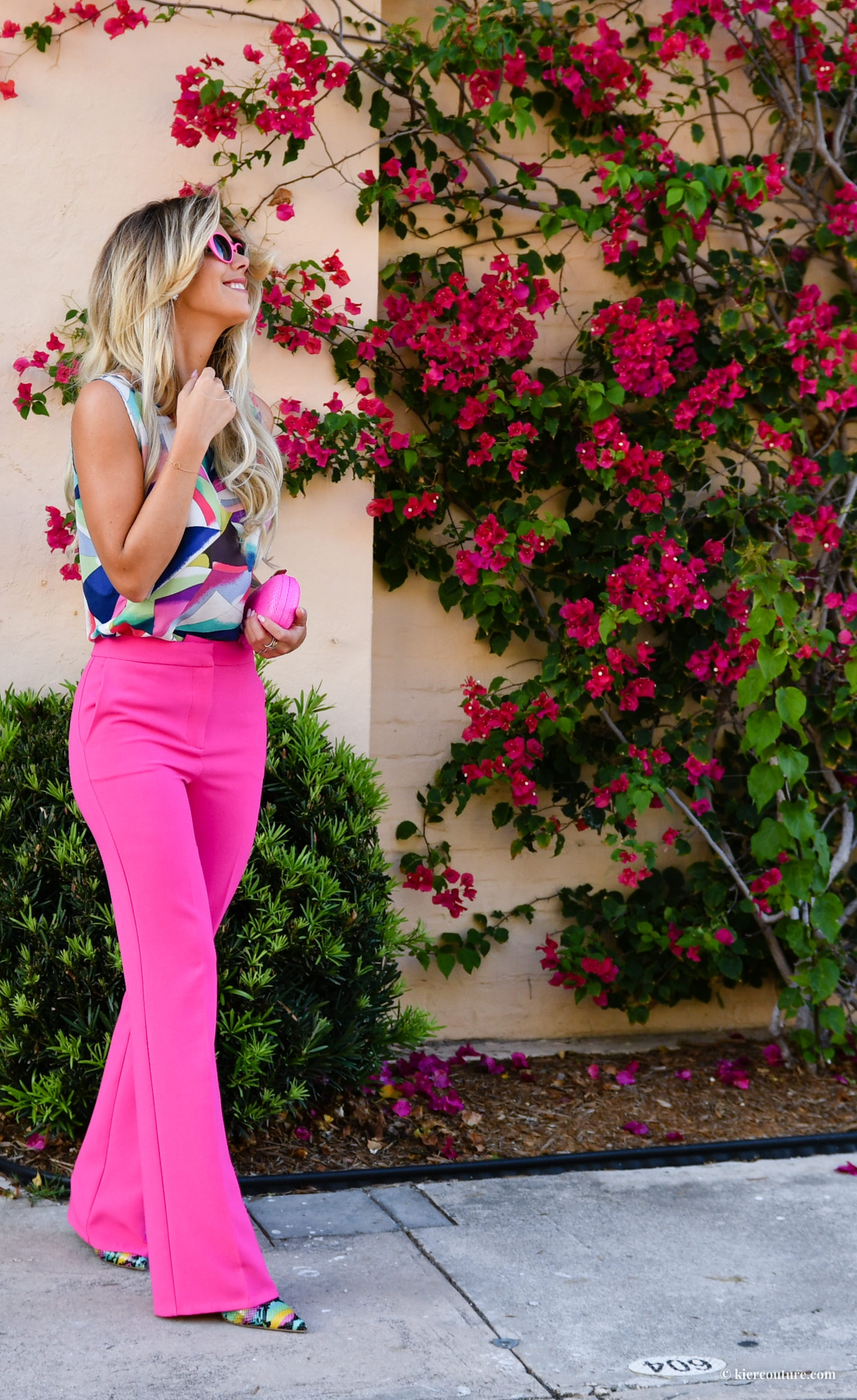 Kier Couture in pink trousers