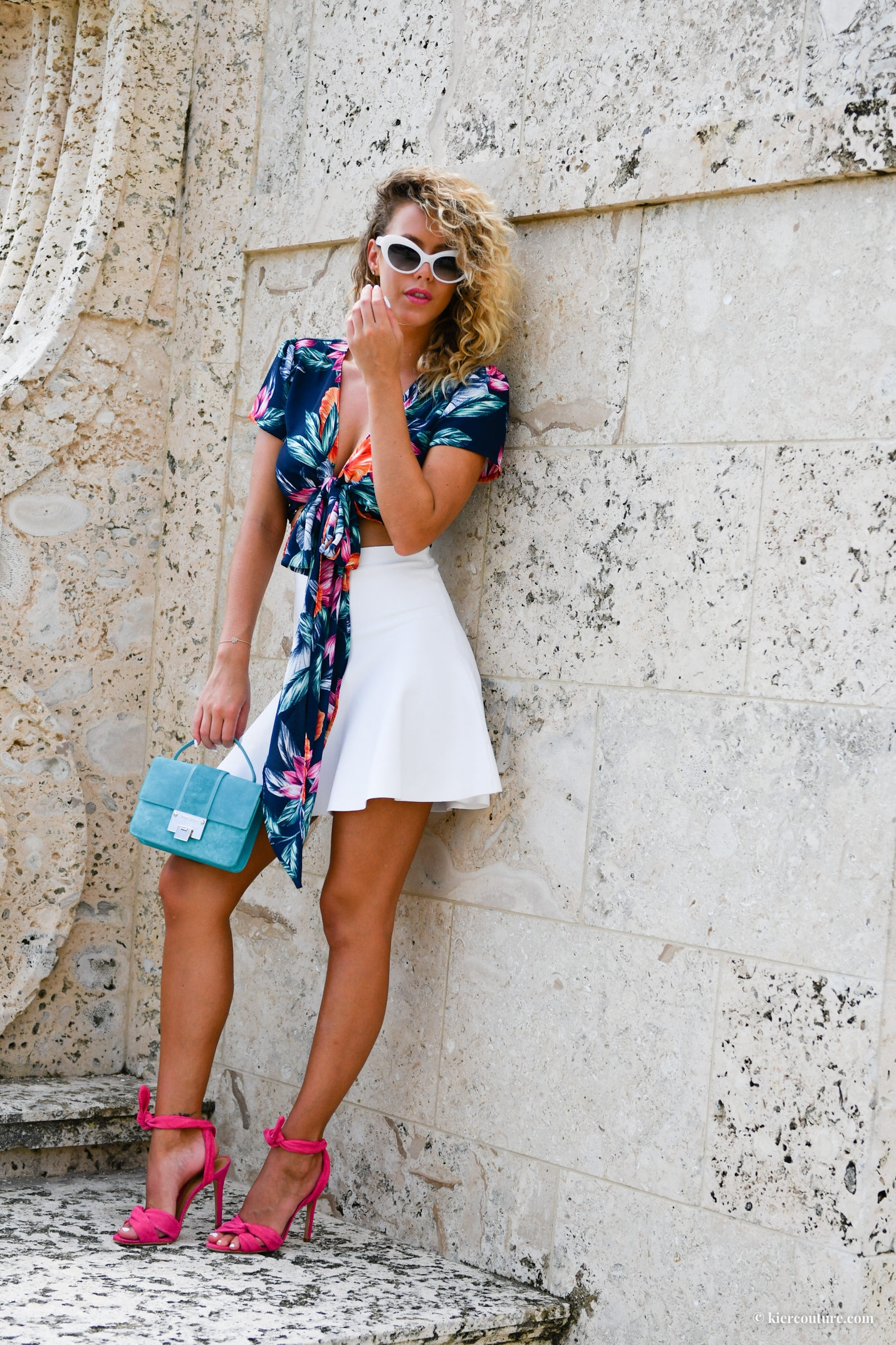 tropical print wrap top
