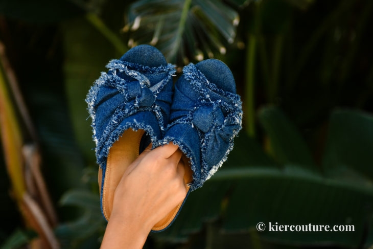 MIA denim bow Mules