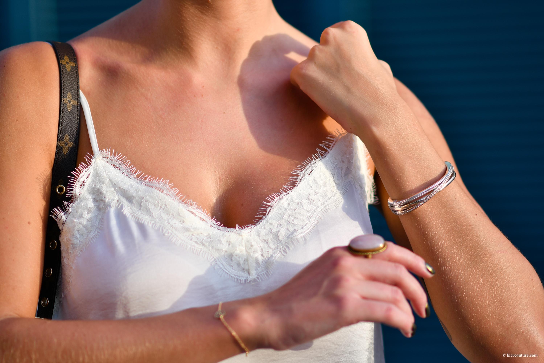White lacey silk camisole
