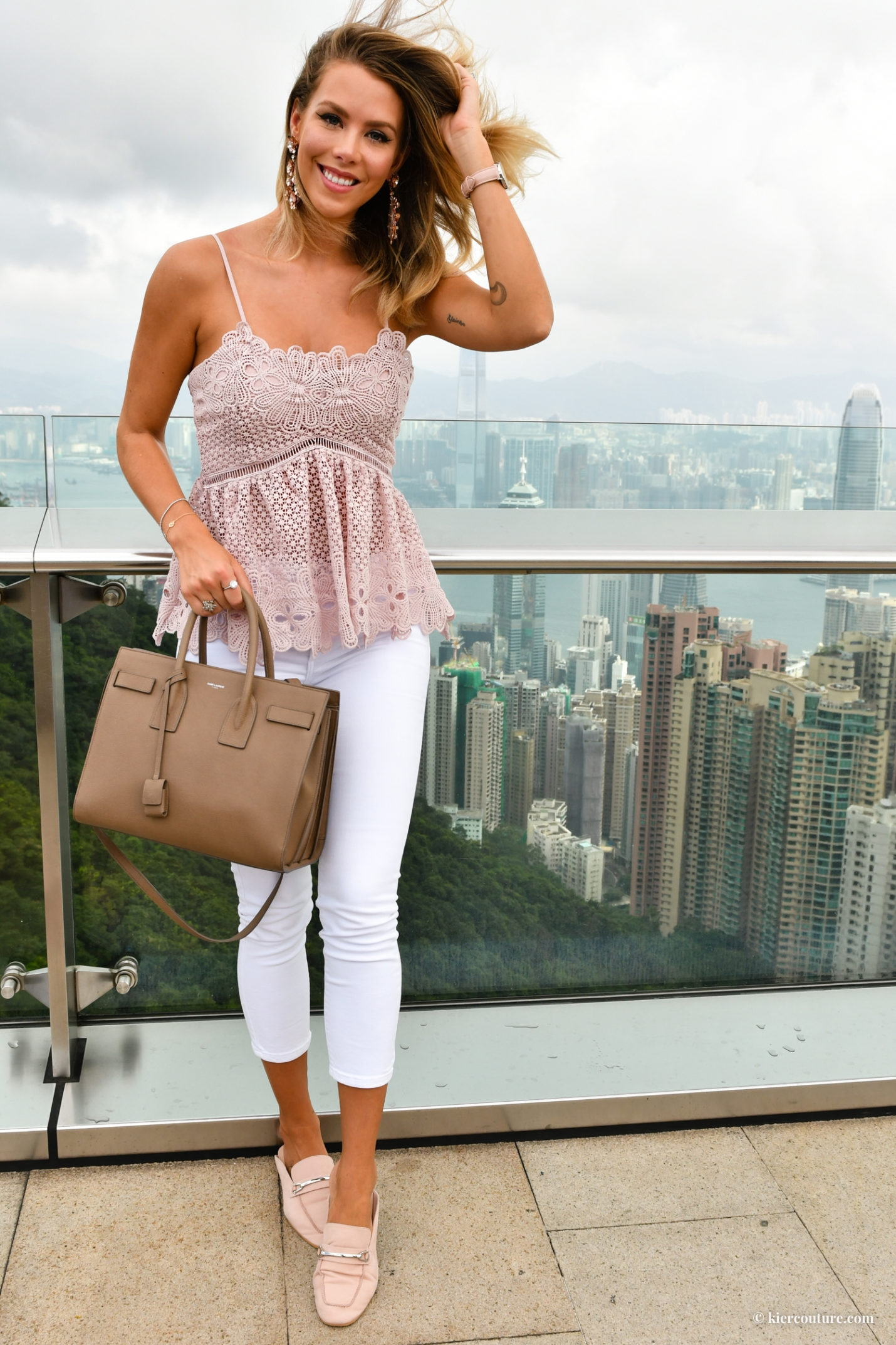 Topi Embroidered peplum top in blush and white jeans in hong kong