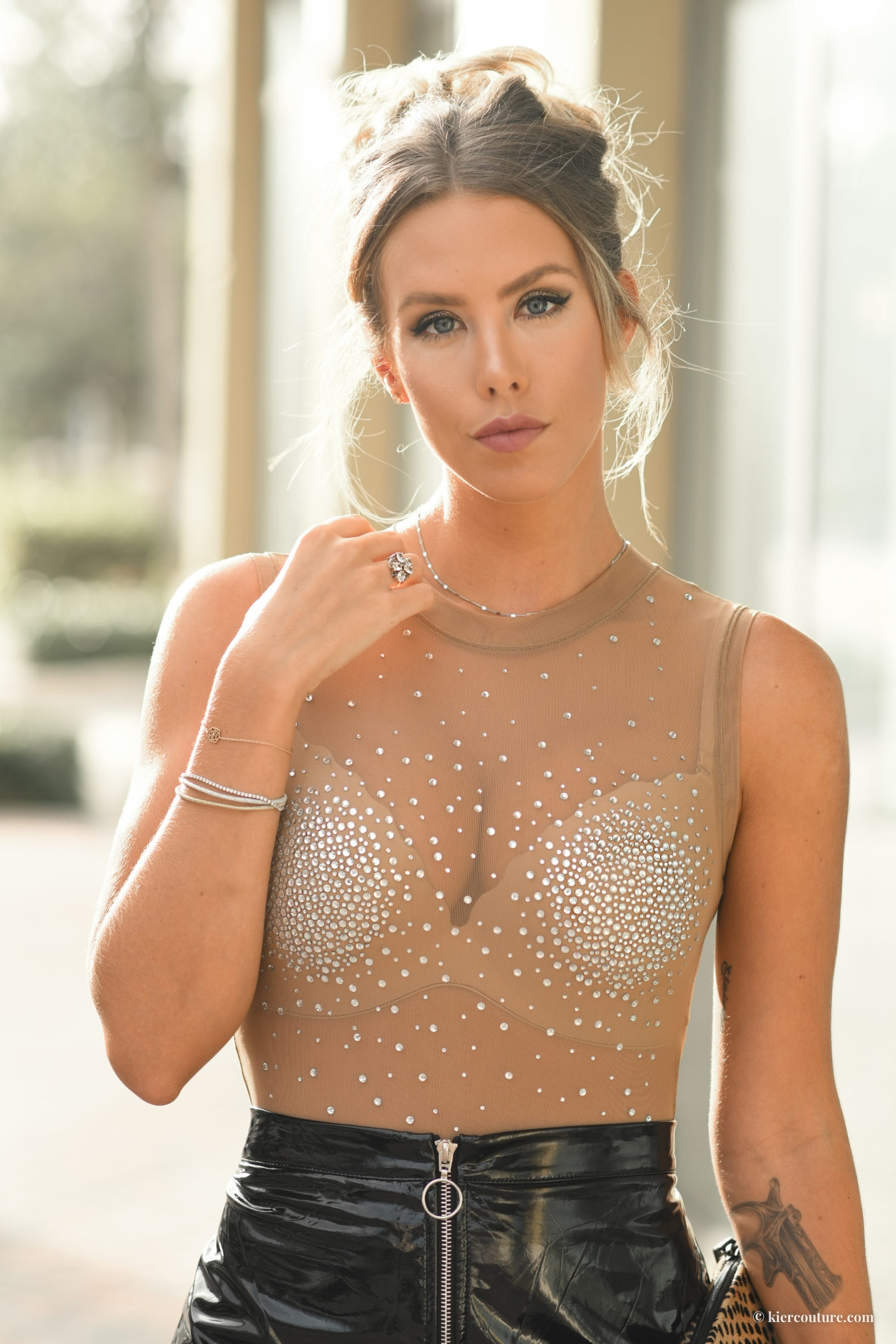 show girl crystal sheer body suit