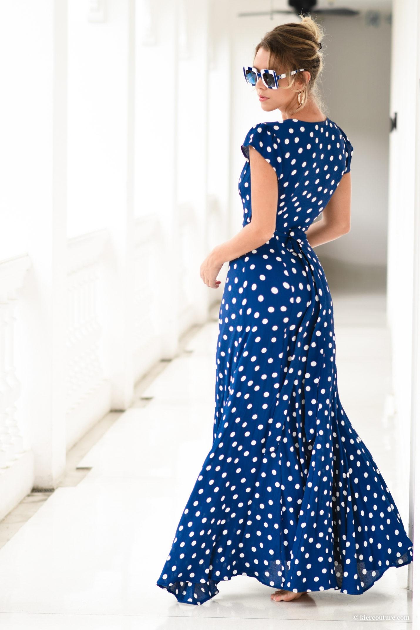 blue polkadot maxi wrap dress