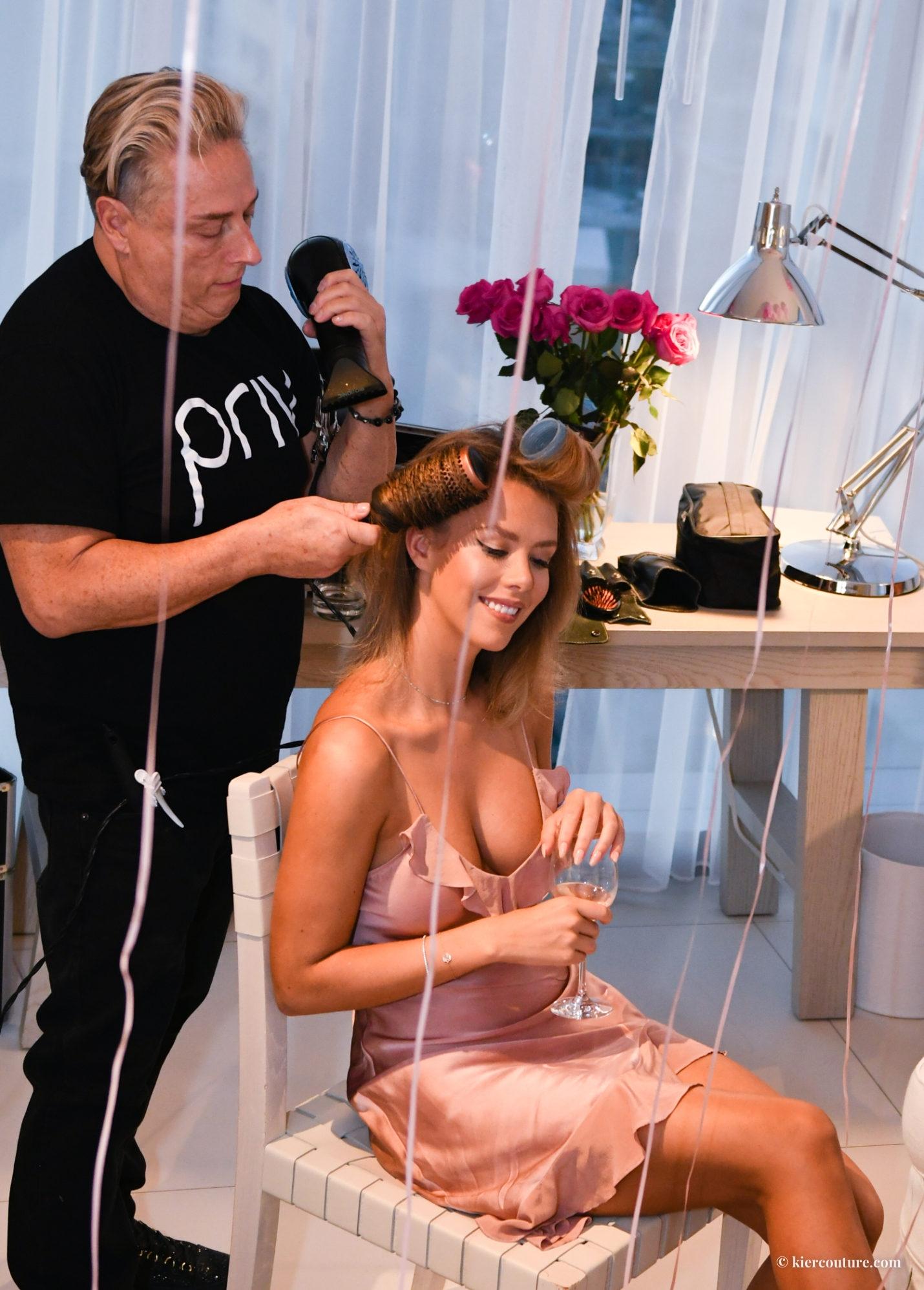 priv Glen Beauty Master styling Kier Mellour's hair