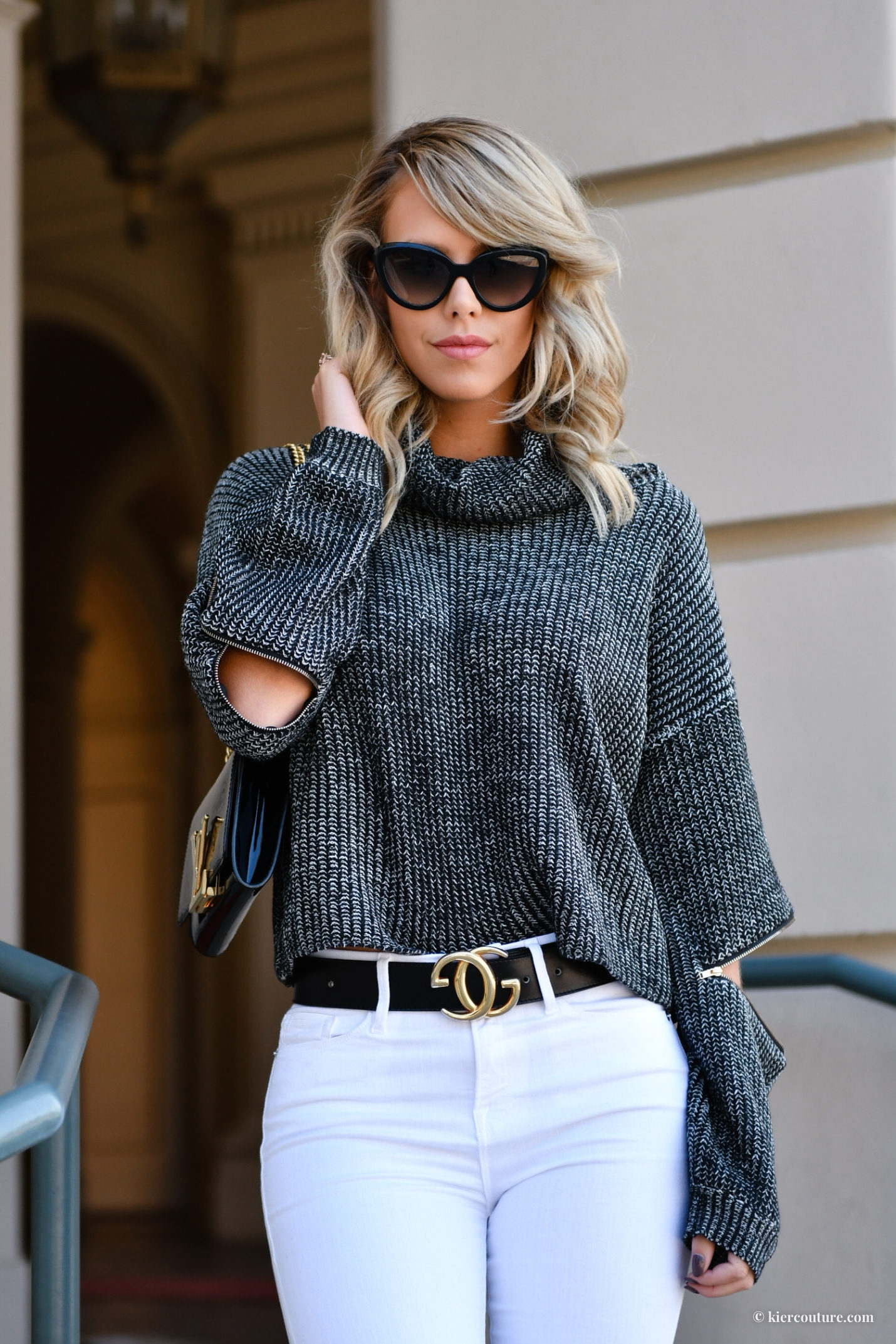 kier mellour winter outfit zip elbow sweater