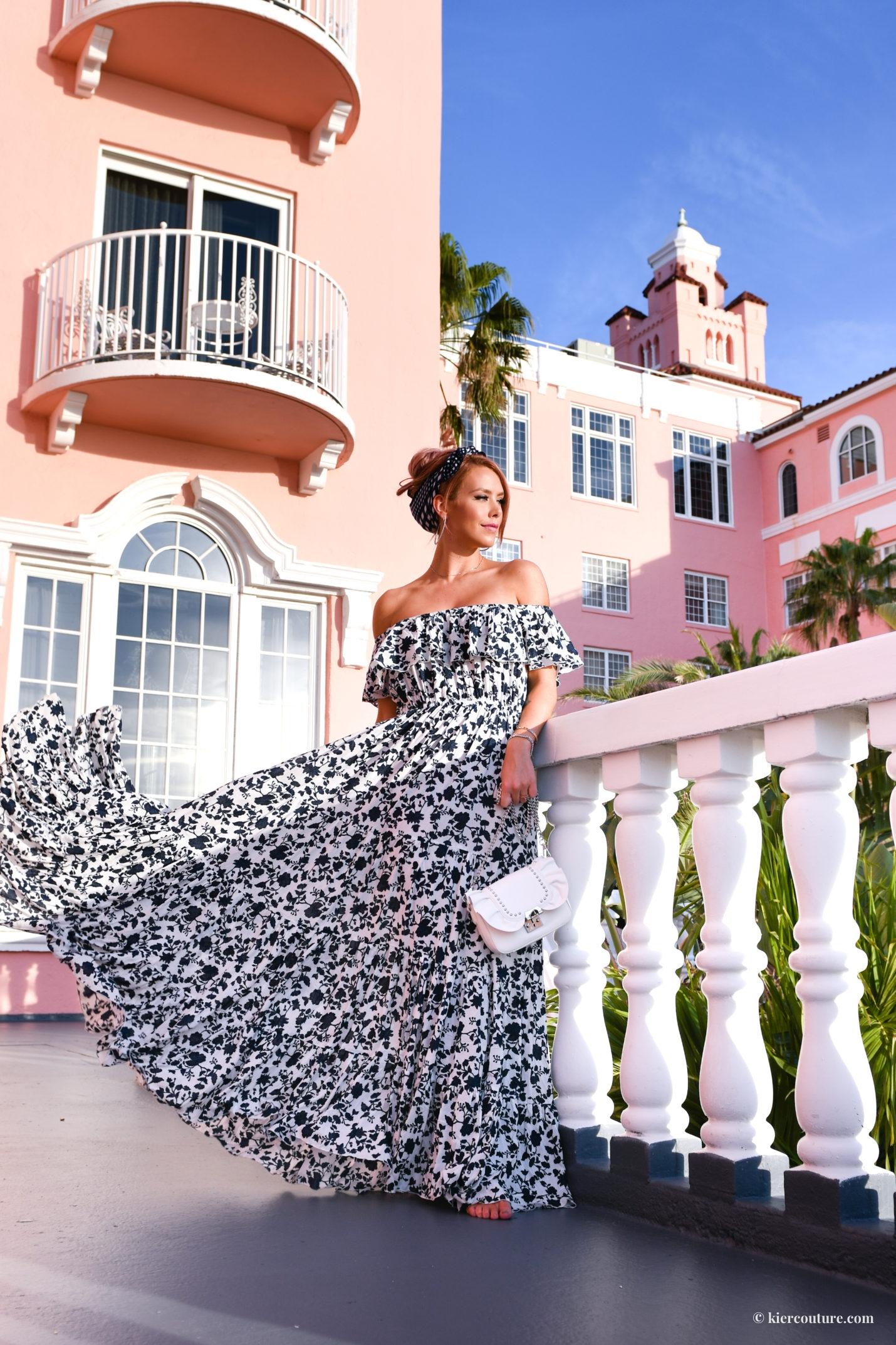 Kier Mellour off shoulder floral maxi dress