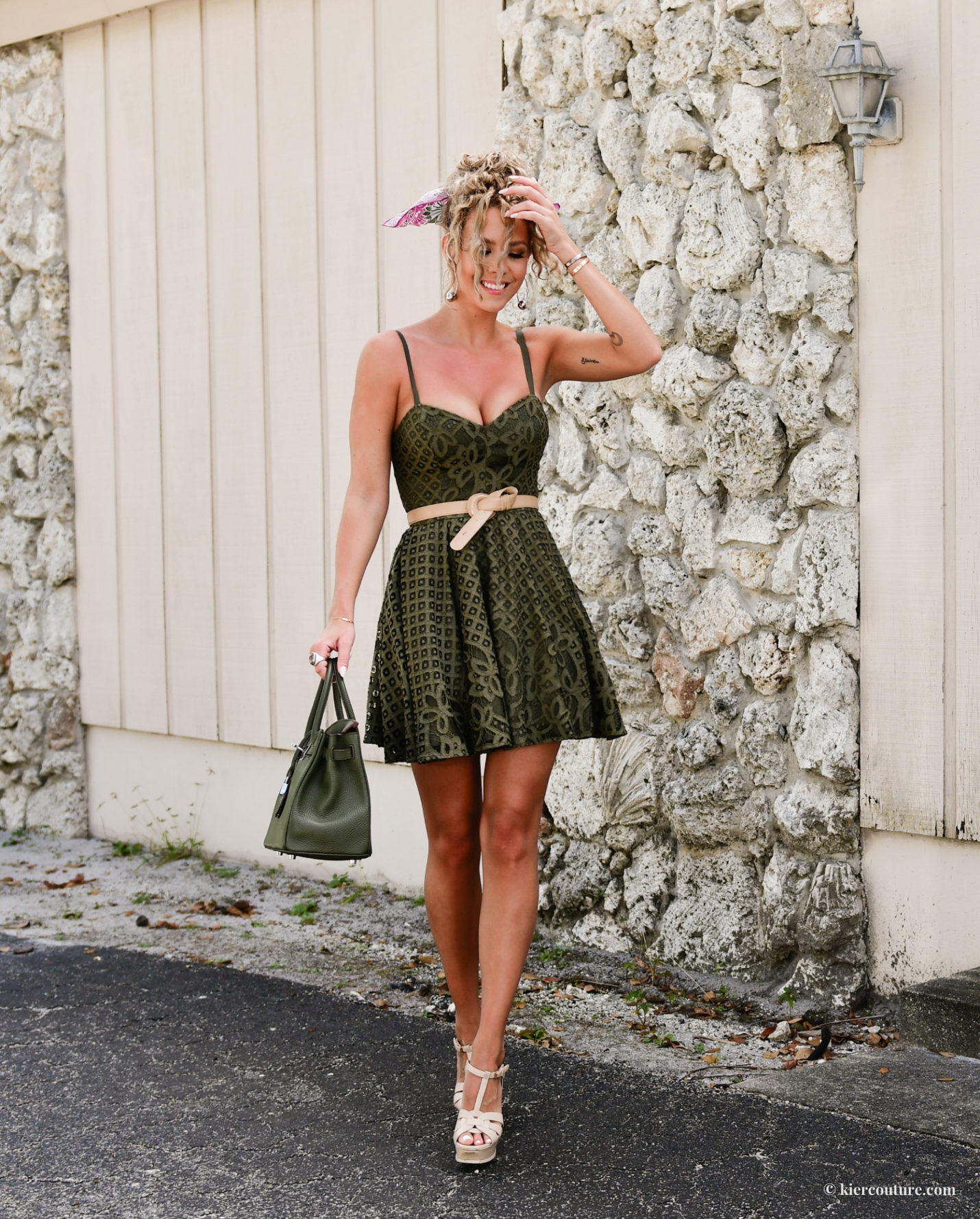 bebe lace dress in olive