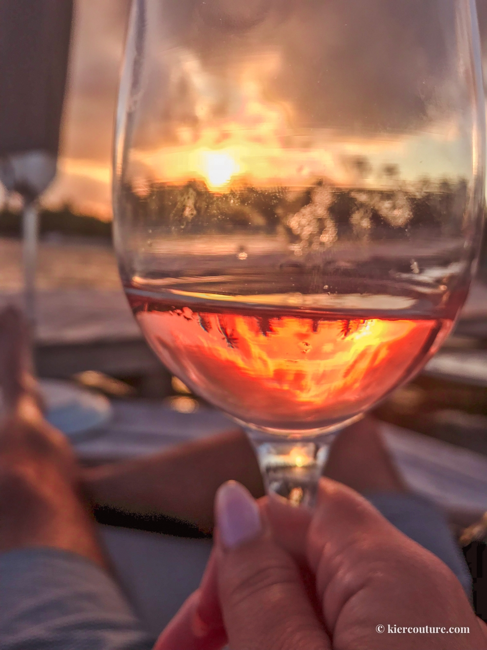 rose wine and sunset