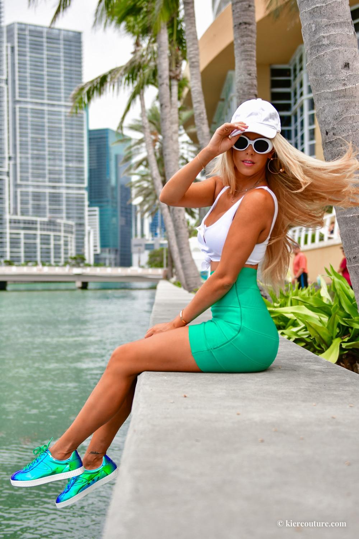 metallic tretorn sneakers on kier mellour in Miami