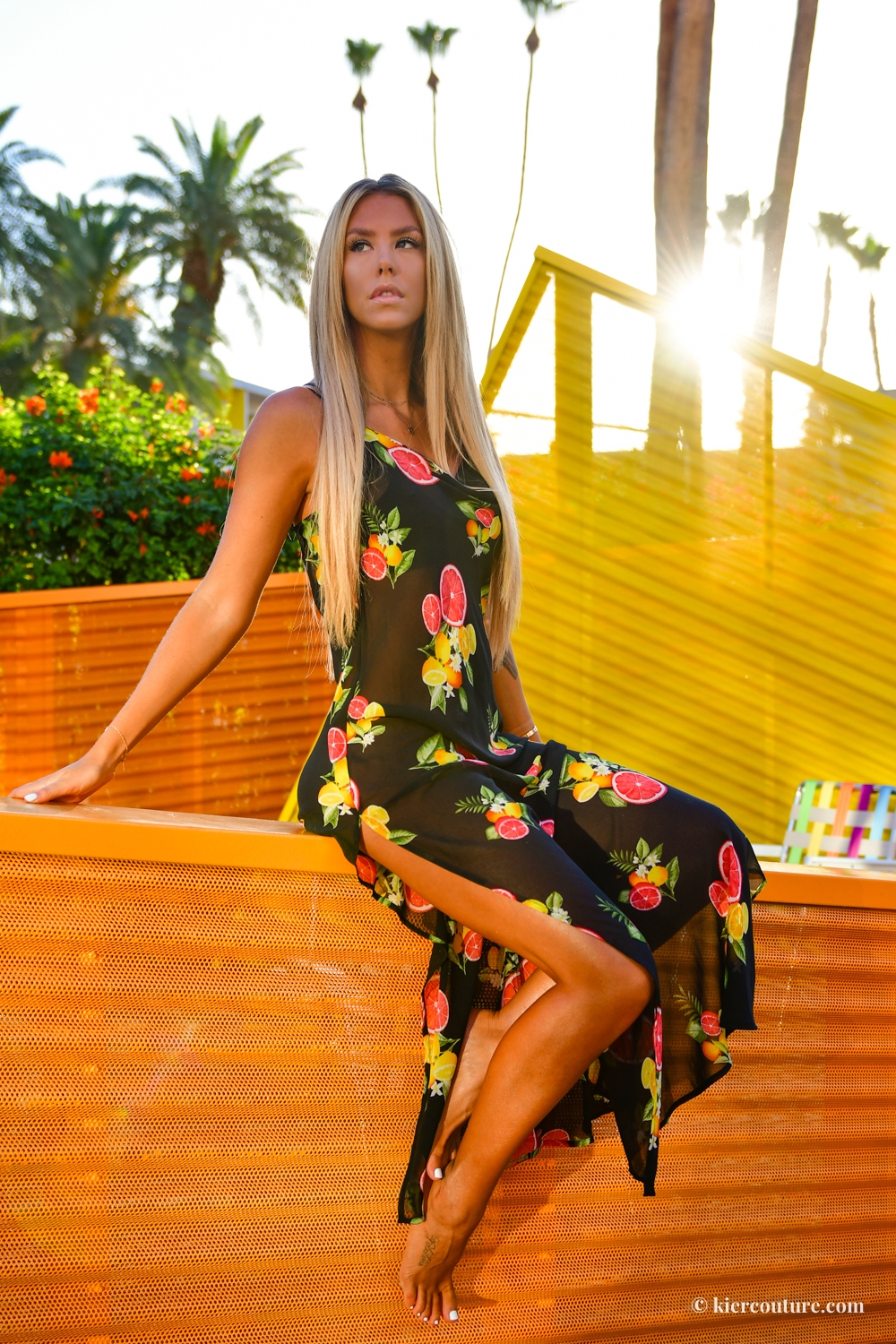 forever 21 Sheer Citrus & Floral Swim Cover-Up Maxi Dress