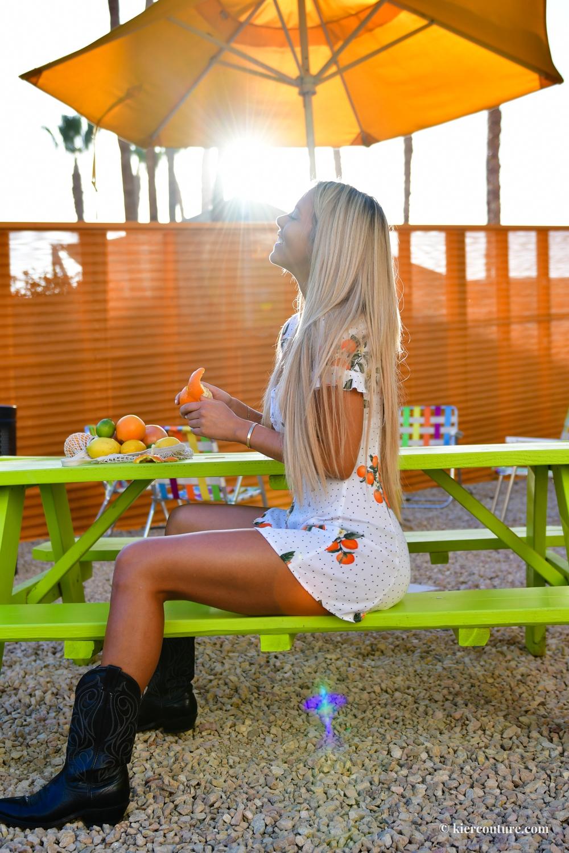 Forever 21 orange polka dot print dress