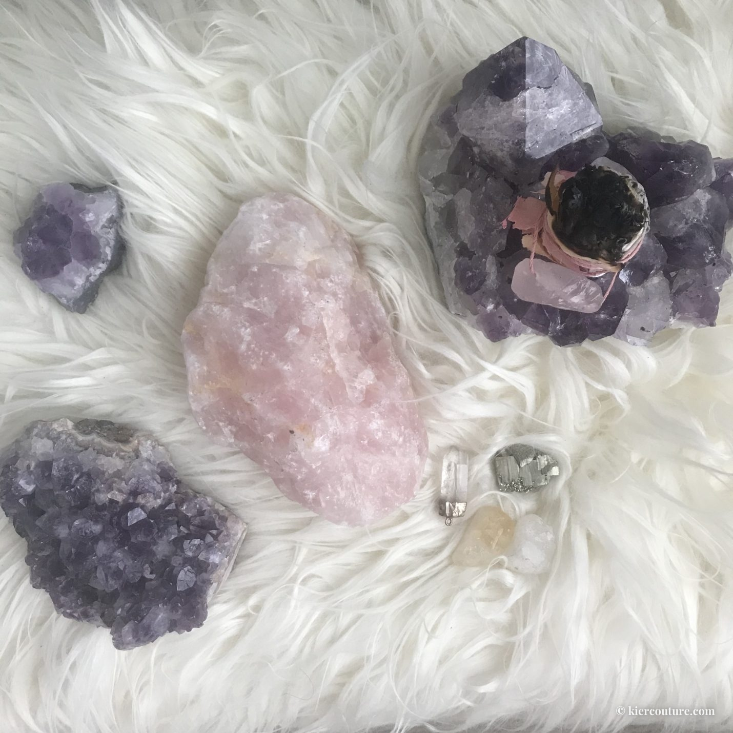amethyst and rose quartz