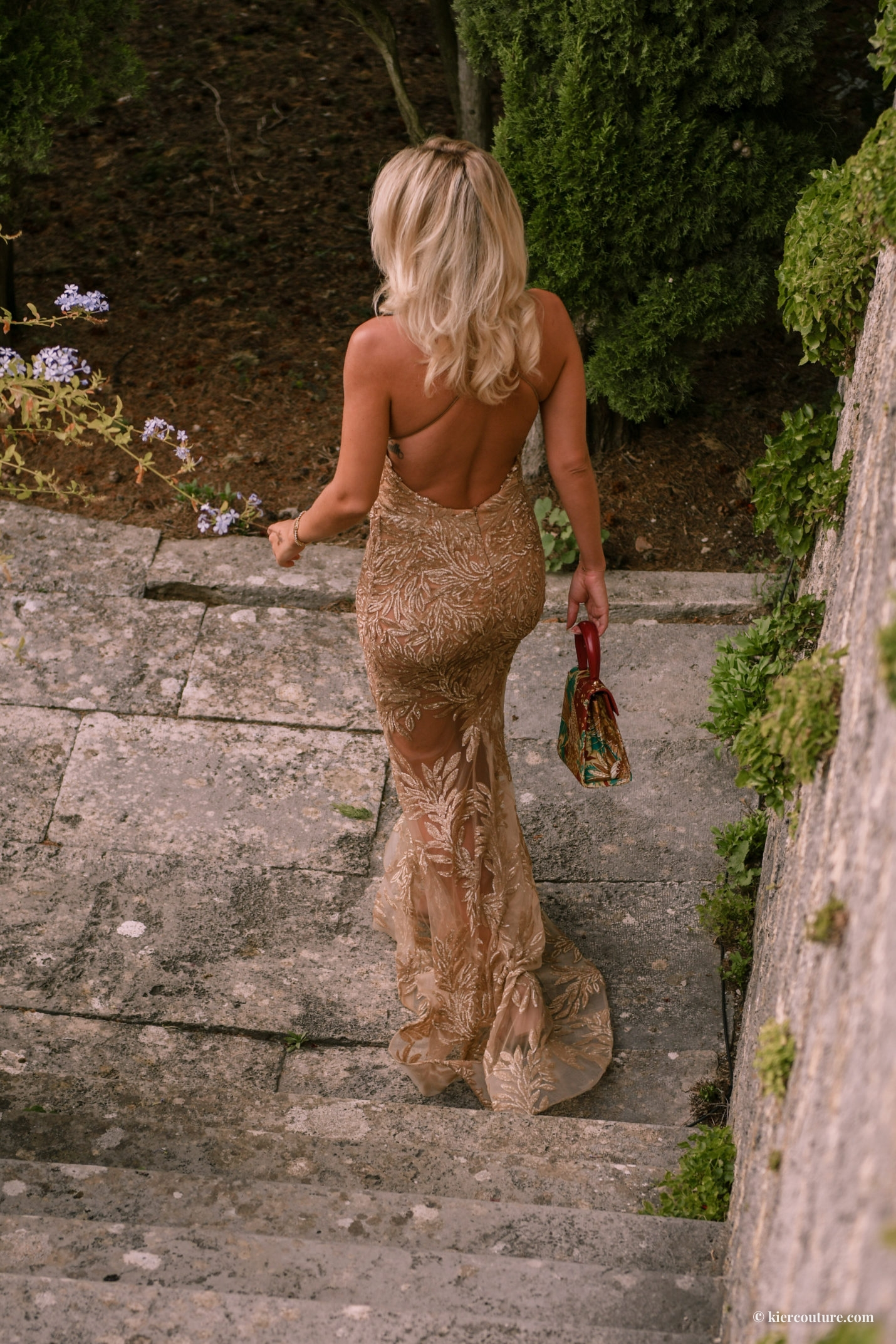 Nadine Merabi Gold Stella gown on Kier Mellour